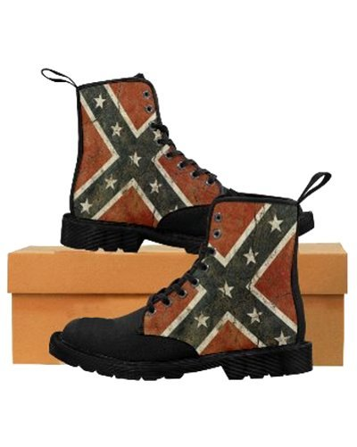 Cracked Concrete Confederate Flag canvas high-top boots